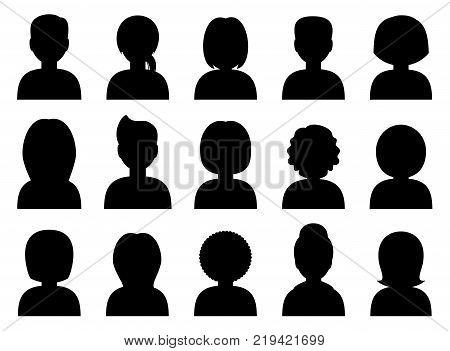 People icon avatars silhouettes black. Vector illustration
