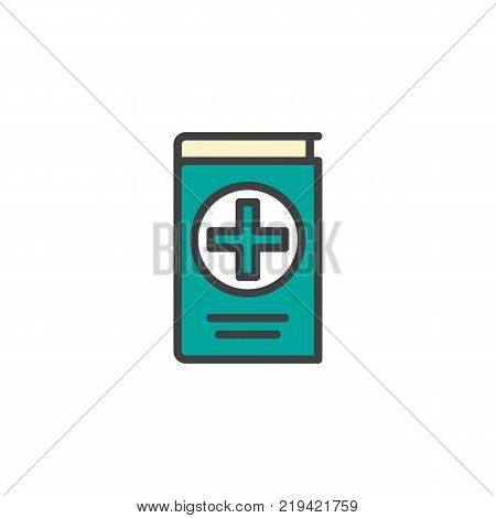 Medical reference book filled outline icon, line vector sign, linear colorful pictogram isolated on white. Symbol, logo illustration. Pixel perfect vector graphics