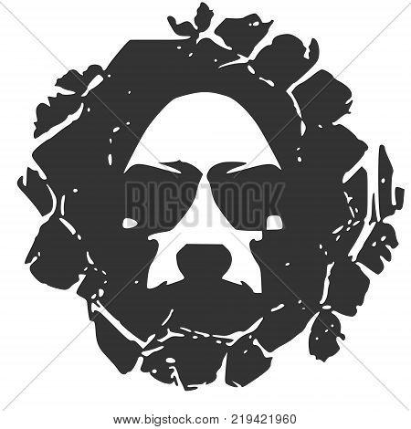 Demonic ugly face. Evil man portrait in cracked frame