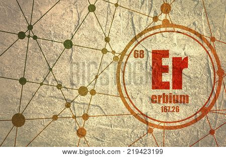 Erbium chemical element. Sign with atomic number and atomic weight. Chemical element of periodic table. Molecule And Communication Background. Connected lines with dots.