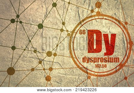 Dysprosium chemical element. Sign with atomic number and atomic weight. Chemical element of periodic table. Molecule And Communication Background. Connected lines with dots.