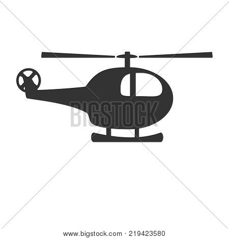 Black and white helicopter icon isolated on background. Chopper rotorcraft in dark color. Simple vector illustration symbol.