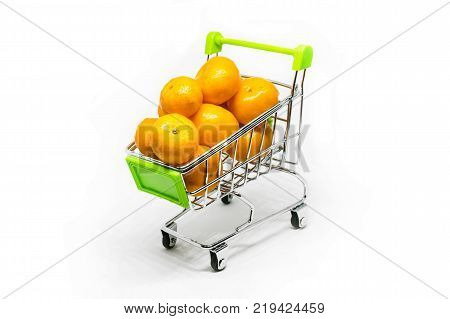 Miniature Cart With Tangerines On White Background
