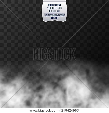 Vector Fog, smoke effect isolated on transparent background. White vector clouds, mist and fog effect background
