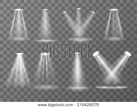 Scene illumination collection, searchlights and light of lamps isolated on  transparent background background. Bright white lighting with spotlights. Vector illustration