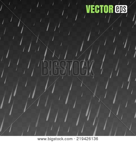 Rain drops on the transparent background. Rainy weather. Rain isolated on transparent background. Rain isolated on transparent background.  Vector illustration. EPS 10