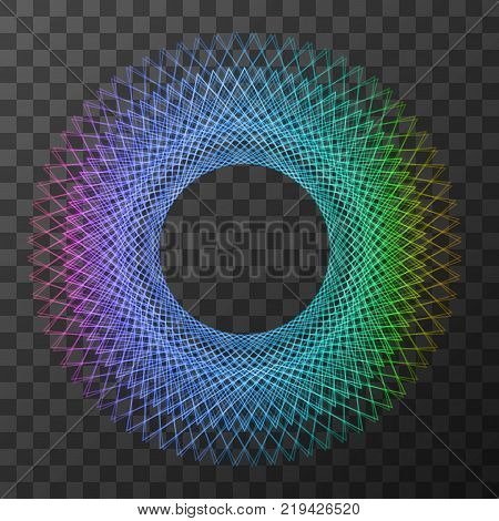 Rainbow line geometry circle  - symbol of sacred geometry on trasparent background. Vector illustration. EPS 10