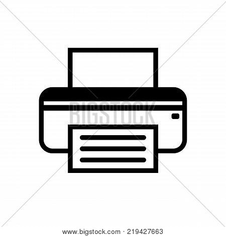Printer fax icon. Vector sign is isolated on a white background. Flat gray symbol. Printer or fax pictogram. Line icon for website design, app, ui.