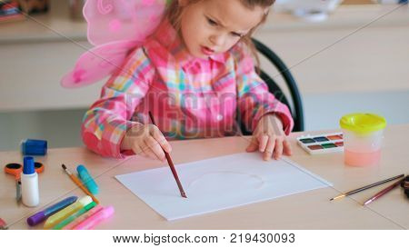 childhood moments drawing hobby leisure concept. little talented artist. art process.
