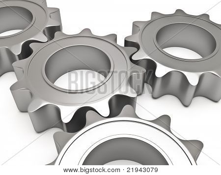 Four gears connected together on a white background
