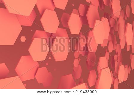 Red Hexagons Of Random Size On Red Background