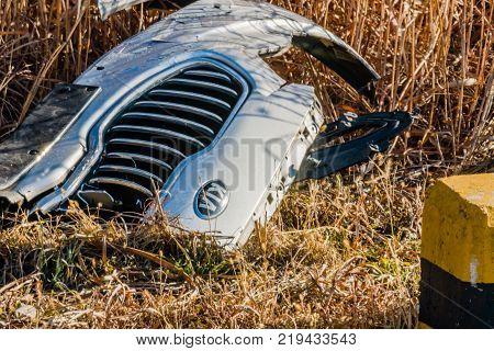Front Grill Off A Kia Automobile
