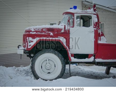 Rescue emergency vehicle city snow close up no people