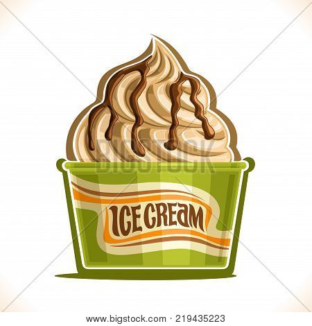 Vector illustration of Vanilla Ice Cream in paper cup, soft serve swirl sundae in cardboard tub box for menu cafe takeaway, on label original text ice cream, vegan twisted italian dessert in packaging