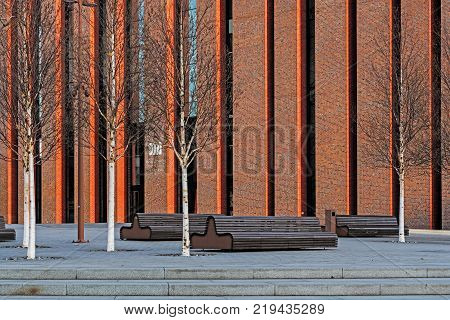 KATOWICE, POLAND - DECEMBER 11, 2017: New seat of Polish National Radio Symphony Orchestra in Katowice. The orchestra founded in 1935 is one of Poland's premier musical institutions.