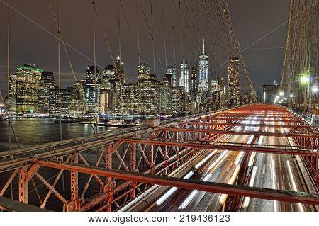 A night view of Lower Manhattan from Brooklyn Bridge.
