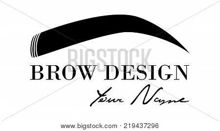 Brow design logo business card template. Vector logo for beauty studio brow bar, Female Eyebrow Illustration Isolated