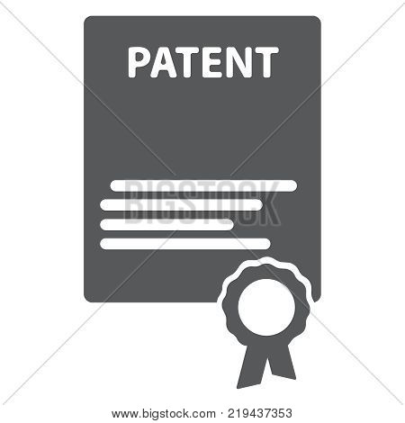 Patented document with approved stamp vector icon illustration, flat cartoon paper doc with rubber seal means registered intellectual property, idea of patent license certificate eps10