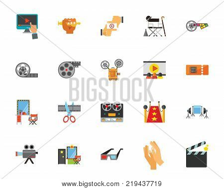 Cinema icon set. Can be used for topics like movie making, film, cinematography, production