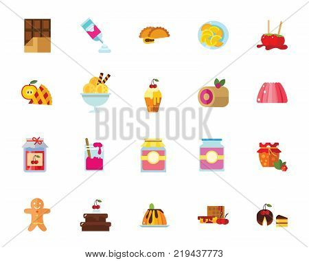 Desserts icon set. Can be used for topics like sweet, confectionary, diet, unhealthy eating