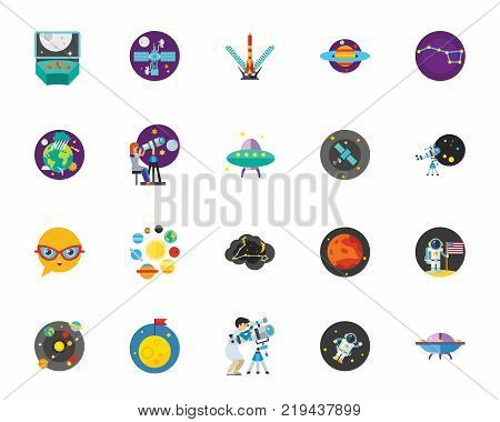 Luna park icon set.Can be used for topics like space, solar system, astronomy, expedition