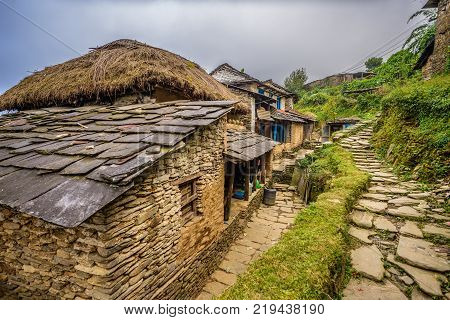 Village of Dhampus situated in the Himalayas mountains near Pokhara in Nepal