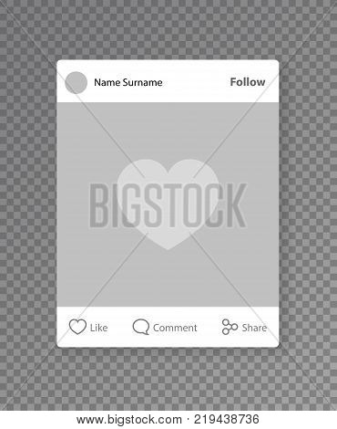 Social network post photo frame. Liked photo mobile app post isolated on transparent background. Vector illustration