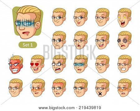 The first set of male facial emotions cartoon character design with blonde hair and different expressions, pleased, rage, in love, ill, silent, grumpy, irritated, shy, worried, etc. vector illustration.