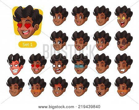 The first set of male facial emotions cartoon character design with curly hair and different expressions, pleased, rage, in love, ill, silent, grumpy, irritated, shy, worried, etc. vector illustration.