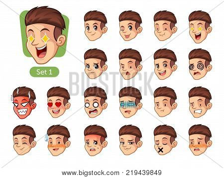 The first set of male facial emotions cartoon character design with red hair and different expressions, pleased, rage, in love, ill, silent, grumpy, irritated, shy, worried, etc. vector illustration.