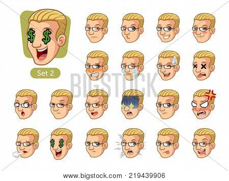 The second set of male facial emotions cartoon character design with blonde hair and different expressions, sad, tired, angry, die, mercenary, disappointed, shocked, tasty, etc. vector illustration. poster