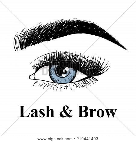 Beauty Makeup. Beautiful Eye With Makeup Accessories: Brush For Eyebrows And Eyelashes. Business Car