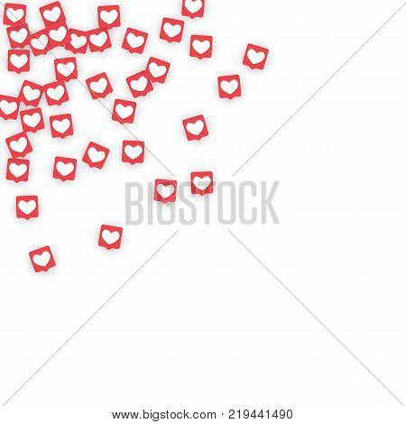 Social Media Icons. Network Notifications with White Heart in Pink Square. Follow and Share Social Media Icons Background for App, Application, Marketing, Smm, Ceo, Web, Internet, Analytics, Business. poster