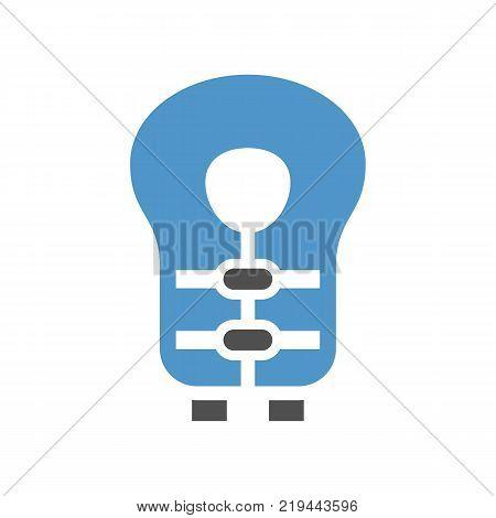 life jacket - gray blue icon isolated on white background