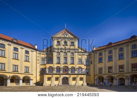 Nesvizh,Belarus-August 5,2017: Inward Yard of Renowned Nesvizh Castle as an Example of Medieval Ages Heritage and Residence of the Radziwill Family in Nesvizh, August 5, 2017, Belarus.
