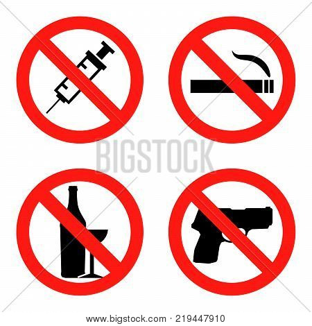 Forbidding  Signs No Smoking , No Drugs , No Weapon and No Alcohol Flat design  Illustration EPS