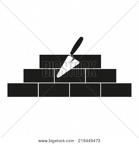 brickwork with a trowel on a white background