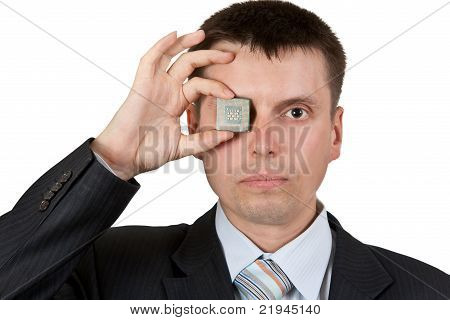 Businessman Closes One Eye
