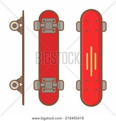 Skateboard active lifestyle.long board,red short board.Extreme street sport youth. Top and side view.Flat line art style vector .Wooden board in red colors with wheels.