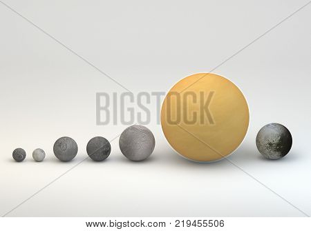 This image represents the comparison between the moons of Saturn in size comparison in a precise and scientific design. The position is in order of distant from planet.This is a 3d rendering.