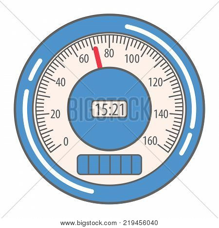 Car speedometer interface showing the speed and the number of kilometers,miles which were passed by vehicle.In flat style a vector icon