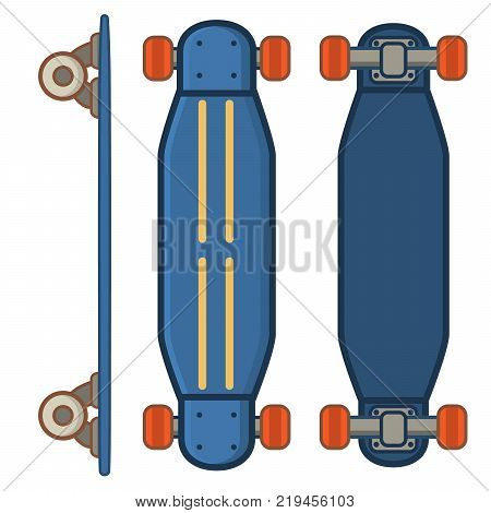 Skateboard active lifestyle.long board,red short board.Extreme street sport youth.  Blue long board.Flat line art style vector.