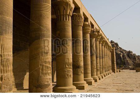 Columns in Philae Temple in Aswan, Egypt