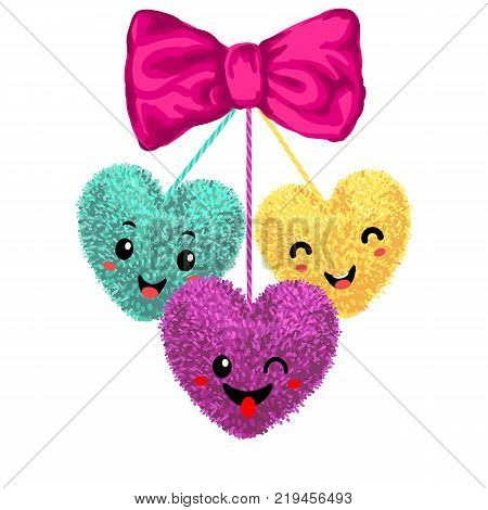 Vector colorful illustration of decortive elements with pom-poms in the shape of a heart hanging on the ropes with bow isolated on white background. Decor for Valentines day design.