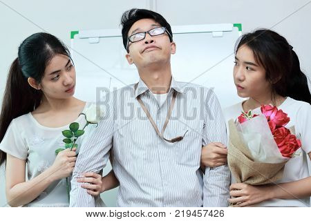 Vintage toned image of frustrated complicated relationship between three people. Love triangle concept.