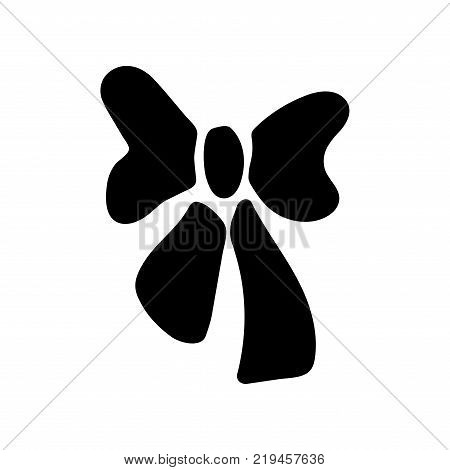 Black bow sign. Image of elegant present. Beautiful icon isolated on white background. Surprise symbol. Logo for romance or business. Mark of decoration for gift. Stock vector illustration