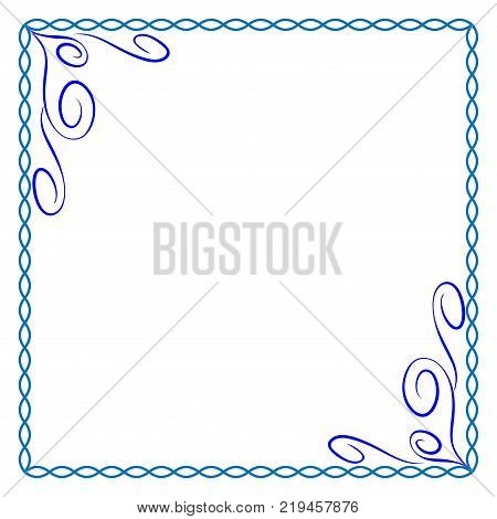 Frame blue. Colorful framework isolated on white background. Decoration chain concept. Modern art scoreboard. Border from ovals and curves. Decoration banner rim. Stock vector illustration