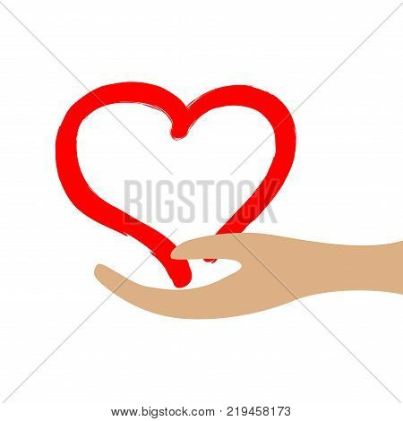 Red heart in hand sign. Mark of decoration love holiday. Beautiful color icon isolated on white background. Lovely save symbol. Concept of safety. Logo for romantic celebration or health. Stock vector