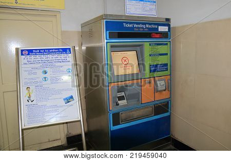 New Delhi India - October 27, 2017: New Delhi Subway Ticket Vending Machine At Lal Quila Station In
