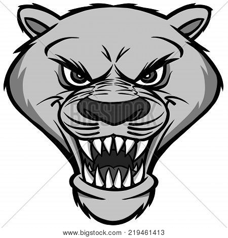 Cougar Mascot Head Illustration - A vector illustration of a cartoon Cougar Mascot Head.